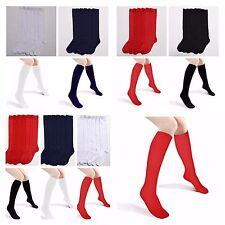 Girls Women Knee High School Uniform Socks Lot Plain Junior Winter White Black