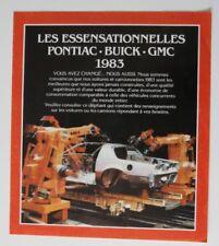 PONTIAC BUICK GMC 1983 dealer brochure - French - Canada ST501000218