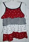 🌟 Girl's L Stars & Stripes Patriotic Shirt 10/12 10-12 Red White Blue Tank Top
