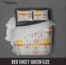 Hodeso Bedsheet Fox Design Queen Size With FREE Two Pillow Case