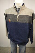 LIVERGY Herren Strick Pullover Gr. XL 56/58 mit Wolle  Navyblau-Grau TOP