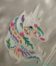 "Embroidered Large 7"" Boho Carousel White Unicorn Head Fantasy Patch Iron On USA"