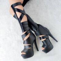 Sexy Women Knee High Boots Peep Toe Stiletto Heel Club Black Shoes Big Size 4-20