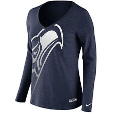 Las mujeres Seattle Seahawks Azul marino con logotipo Wrap tri-blend Escote En V Manga Larga Camiseta Xs
