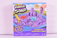 Spin Master Kinetic Sand Sand Box Playset w/1lb of Sand and 3 Molds, Purple Sand