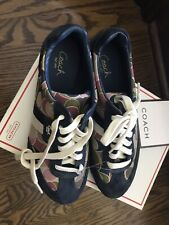 New Coach Navy/Multi Color  Suede Sneaker Shoes 7.5