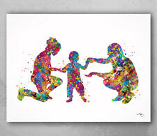 Two Moms Watercolor Print Same Sex New Moms LGBT Family Wall Art Baby Gift-1729