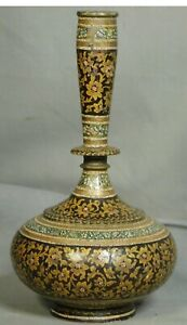 Antique Islamic Persian Style Enamel Painted Wooden Candlestick Genie Bottle