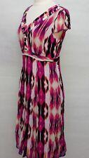 Pink Pattern Tea Dress Size 14 V Neck Cap Sleeve 1940 Style Cc1