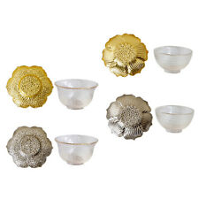 Glass Tea Coffee Cup Bowl and Alloy Saucer Exquisite Home Teaware Glassware