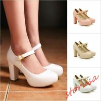 Women's Mary Janes Block High Heels Round Toe Lolita Dress Shoes Platform Pumps