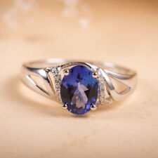 1.27Ct Oval Diamond Blue Sapphire Solitaire Engagement Ring Solid 14K White Gold