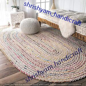 Multi Chindi Handmade Natural Rug Braided Oval Shape Rag Area Rugs Floor Carpet