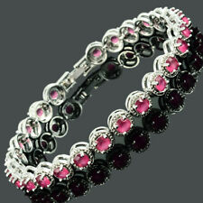 Lady Gift White Gold Plated CZ Zirconia Red Ruby Tennis Statement Bracelet Sale