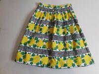 DANGERFIELD Revival A-Line Pleated Skirt Size 6 Lemons & Leaves Vintage Retro