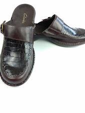 CLARKS Mules Brown Leather Croc Clog Slides Size 11M #72361 Buckle