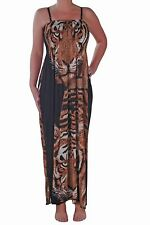 Womens Sleeveless Square Neck Animal Tiger Print Long Maxi Flared Swing Dress