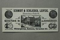 AuK5) Werbung Anzeige Leipzig 1902 Schmidt & Schlieder Eisenbau-Fabrik