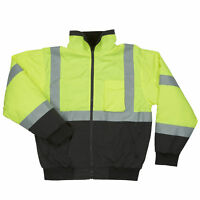 Men's High Vis Black Bottom ANSI CLASS 3 Jacket Fleece Lined with 3M Reflector