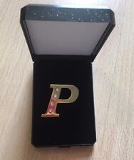Capital P Initial Name Lapel Hat Cap Tie Pin Badge Brooch Gold Sparkle Letter