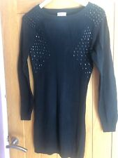 River Island Knitted Dress Black Pencil Bodycon Stretchy Slimming Studs Size 14