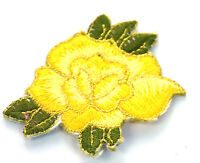 YELLOW + GOLD ROSE FLOWER 7cm Embroidered Sew Iron On Cloth Patch Badge APPLIQUE