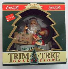 NEW In Box  COCA-COLA SANTA & Painting Elf  ORNAMENT Vintage 1956 Era Ad Replica