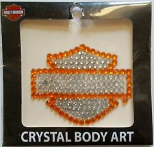Harley-Davidson Orange and Silver Bar and Shield Crystal Body Art TT114471 New