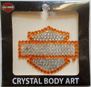 Harley-Davidson Orange and Silver Bar and Shield Crystal Body Art TT114471 New