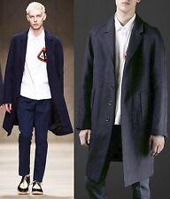 $2,995 Burberry Prorsum 42 52 Indigo Linen Workwear Caban Trench Coat Jacket Men