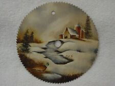 "WINTER Scene PHEASANT BARN Silos SIGNED ADAMS Hand Painted 7"" Circular Saw Blade"