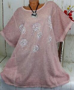 Shirt T-Shirt Tunika Bluse Top Glitzer Oversize Leinen Baumwolle Rosa XXL 50 52