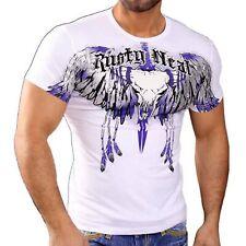 Rusty Neal Herren Kurzarm Adler T-Shirt Freizeit Polo Hemd Style Weiß 3174