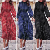 Ladies Polka Dot Print Casual Long Dress Long Sleeve High Waist Shirt Dress Plus
