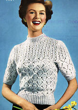 Vintage 1950s knitting pattern-ladies pretty lace stitch jumper-uses DK yarn