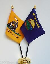Gadsden & Montana Double Friendship Table Flag Set