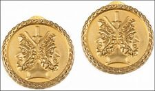 "Etruscan Double-Headed Janus Clip Earrings, 24K Gold Plated Pewter & Brass 0.75"""