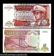 ZAIRE 1000000 ZAIRES P45 A 15-3-1993 LOW # MILLION LEOPARD MOBUTU UNC CONGO NOTE