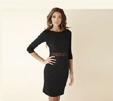 Ladies Formal Black Lace Detail Shift Pencil 3/4 Sleeve Cut Out Back Dress 14