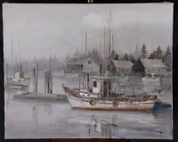 "Tinyan Chan FCA Original Oil Painting Fishing Boats at Dock 20x30"" Tin yan"