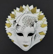Ceramic Mardi Gras Wall Face Mask New Orleans Hand Painted Decor Masquerade Art