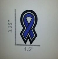 """Sew-On Embroidered Patch CANCER / AWARENESS RIBBON SHAPE- 3.25 x 1.5"""" PICK COLOR"""