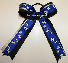 Soccer Ponytail Holder Hair Bow Blue Silver Black Ribbon Streamers Team Spirit
