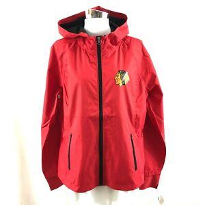NHL Chicago Blackhawks Womens Jacket Winbreaker Hooded Pockets Vented Red Size L