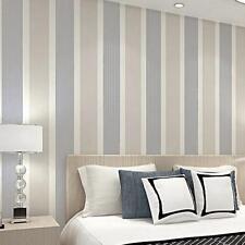 10m Roll Simple Non-woven Vertical Stripe 3D Wallpaper Flocking Modern Bedroom