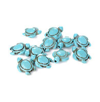 16'' Lots 23Pcs Turquoise Howlite Carved Turtle Spacer Beads Findings 17x14mm UK
