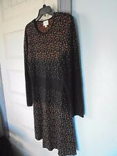 BEIGE by ECI Sz XL Knit Dress New no Tag $69.95 Black & Brown Cotton & Viscose