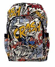 BOOM COMIC STRIP White Cloth Backpack Rucksack School College Goth Emo Skull Bag