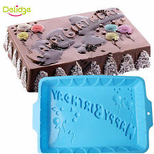 Large Square Silicone Happy Birthday Cake Bakeware Baking Pan Muffin Bread Mold