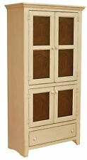 Amish Primitive Pantry Storage Cabinet Farmhouse Cottage Cupboard Tin Doors